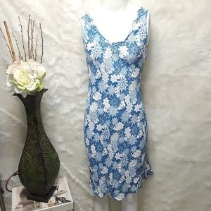 Angie Blue & White Floral Rayon Dress